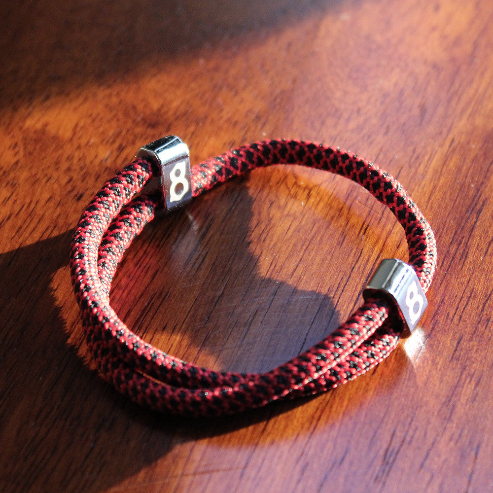 Black and red st8te adjustable rope bracelet