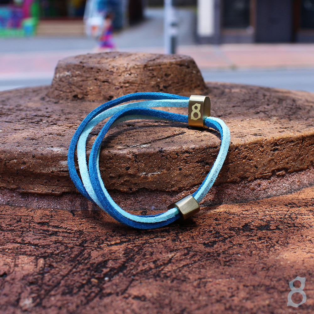 Blue and Turquoise leather st8te bracelet
