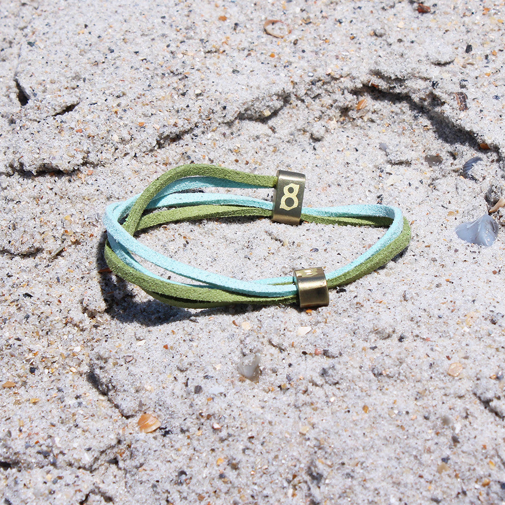 Teal and green (Gold Turtle) st8te leather bracelet