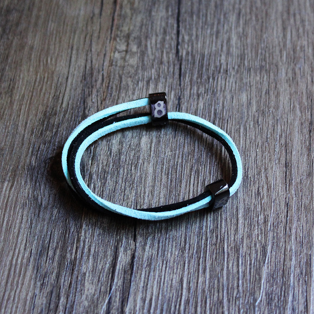 Black and Turquoise leather st8te bracelet