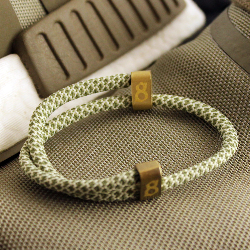 Green white and gold rope st8te bracelet