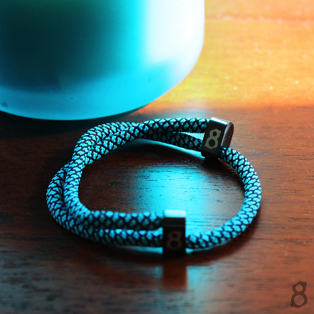 Light blue and black rope st8te bracelet