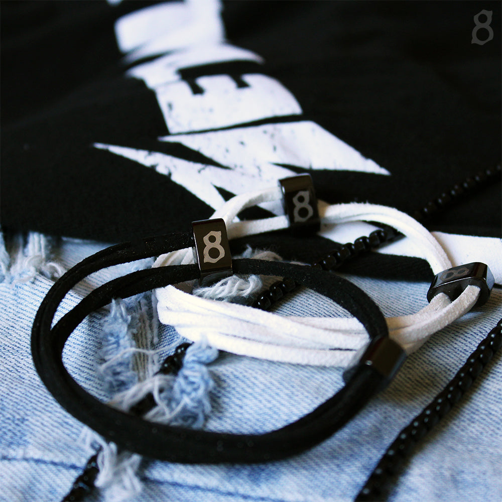 Black and white leather st8te bracelets