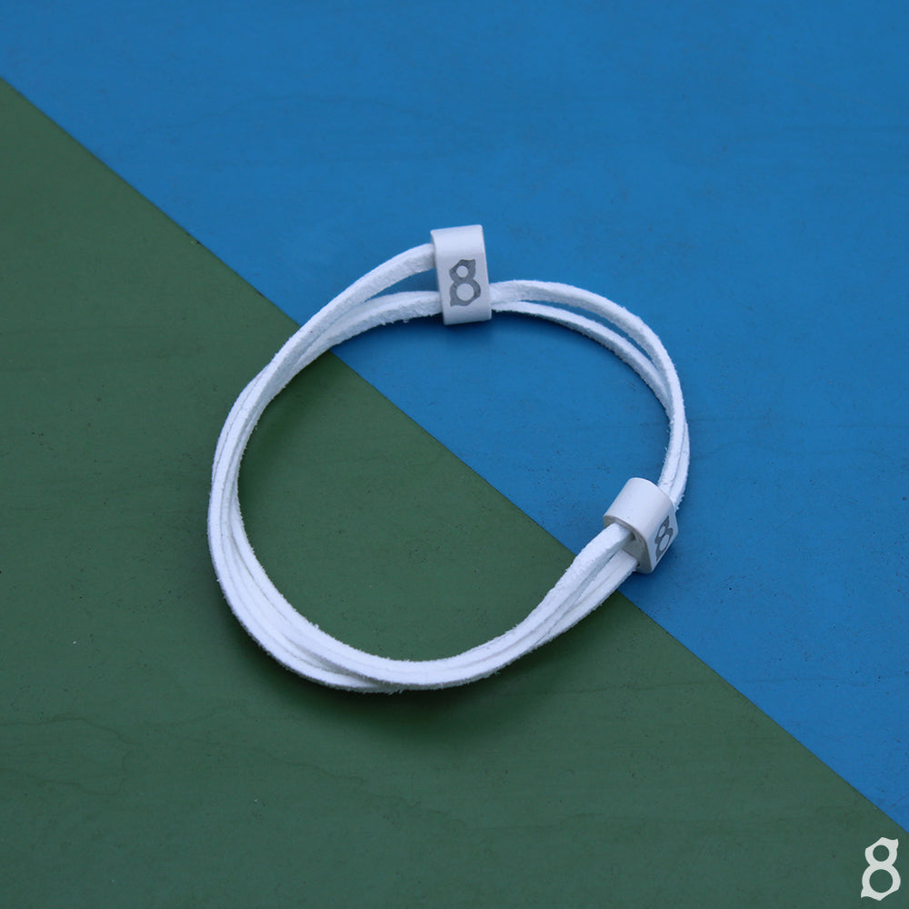 White leather st8te bracelet