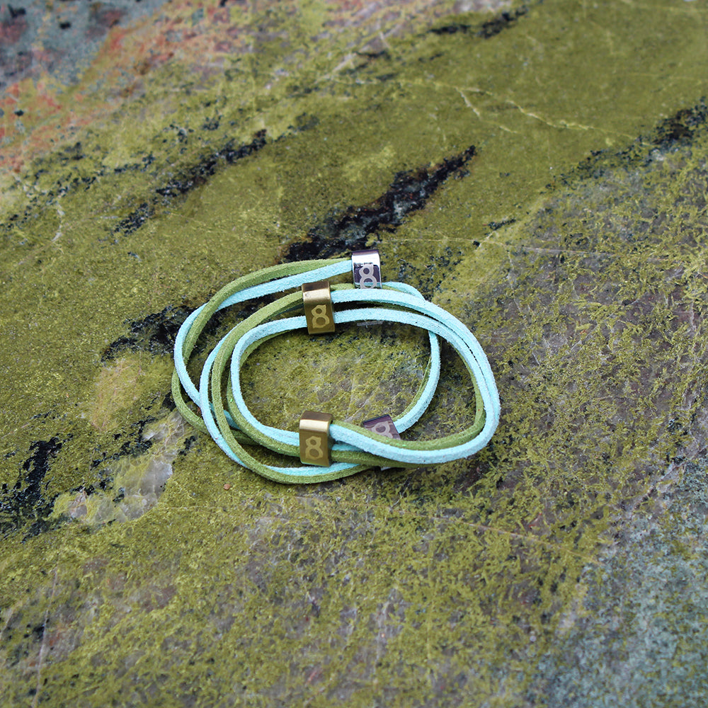 Green and turquoise(turtle) leather st8te bracelet