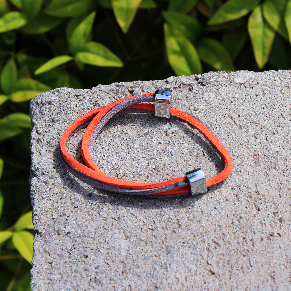 Orange and grey leather st8te bracelet