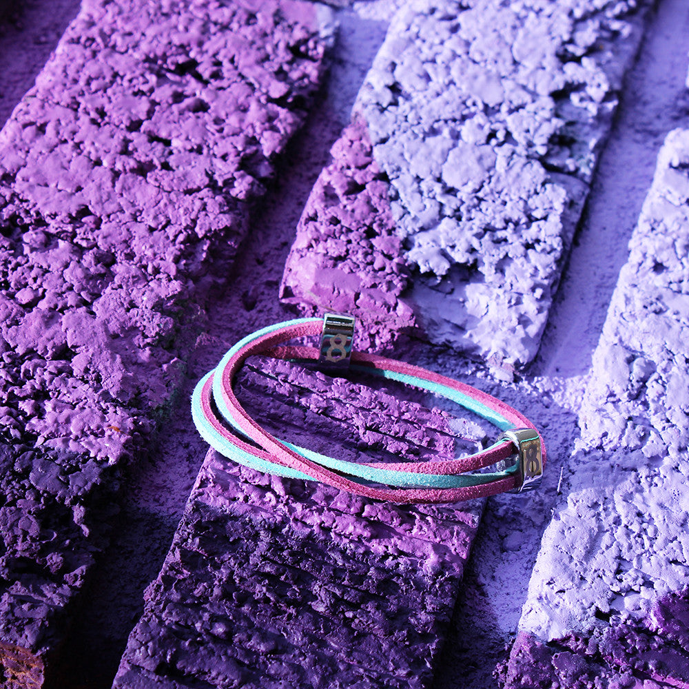 Purple and Turquoise leather st8te bracelet