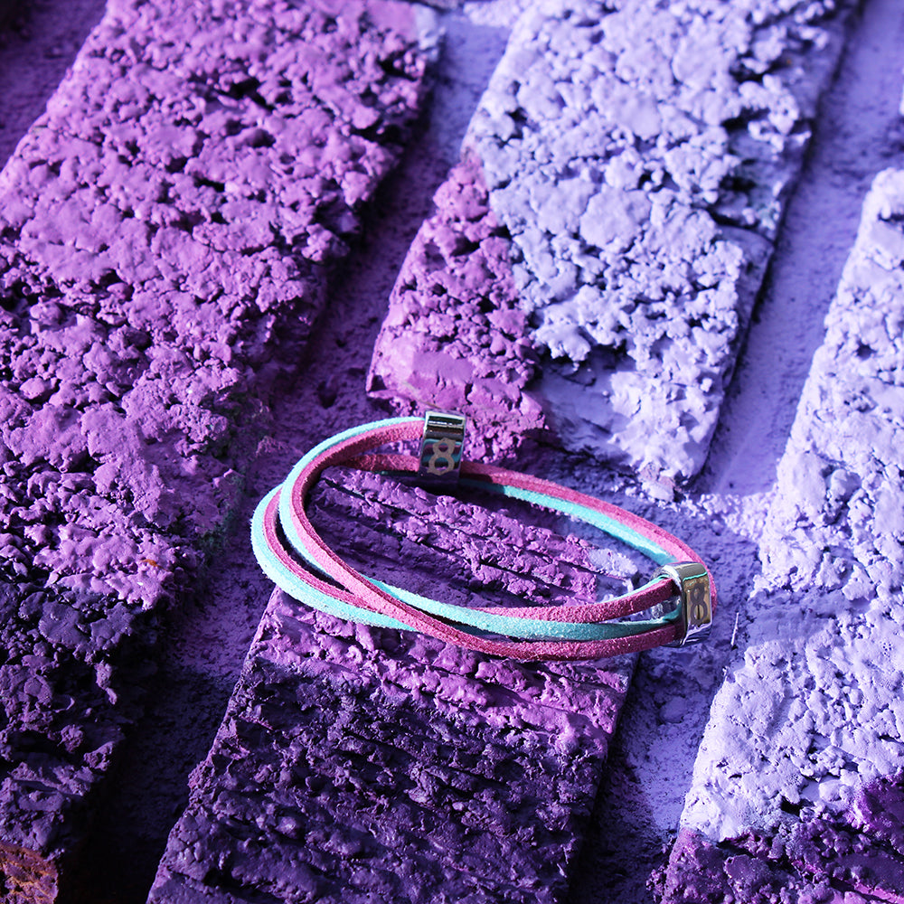 Purple and Teal leather st8te bracelet