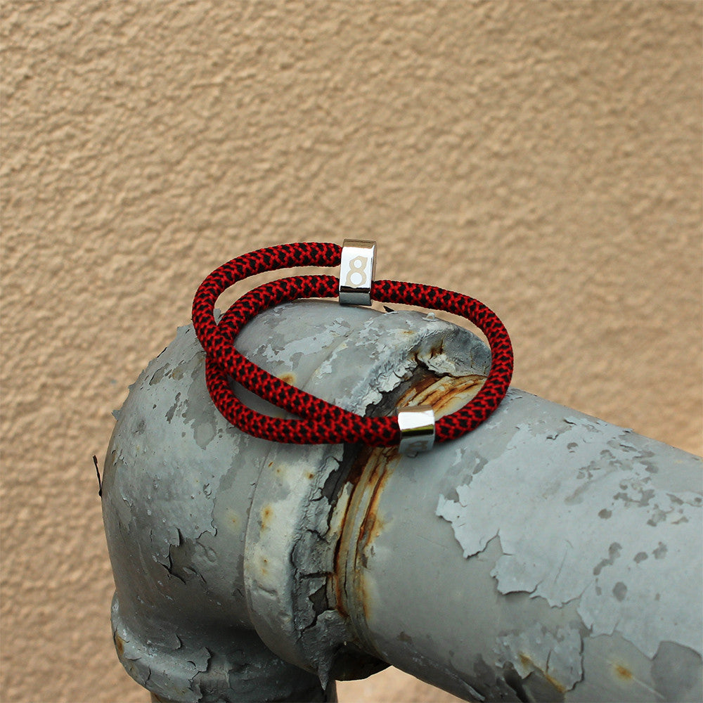 Black and red (bred) silver st8te bracelet