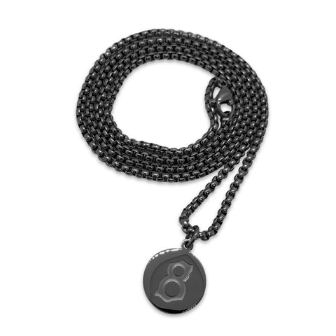 St8te- 3mm Stainless Steel Black Necklace with St8te Logo Pendant
