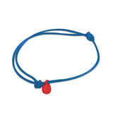st8te Handmade Blue and Red Rope Bracelet with Charm | Adjustable Rope Slider