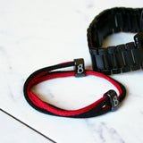 st8te Handmade Black & Red Leather Bracelet | Adjustable Slider