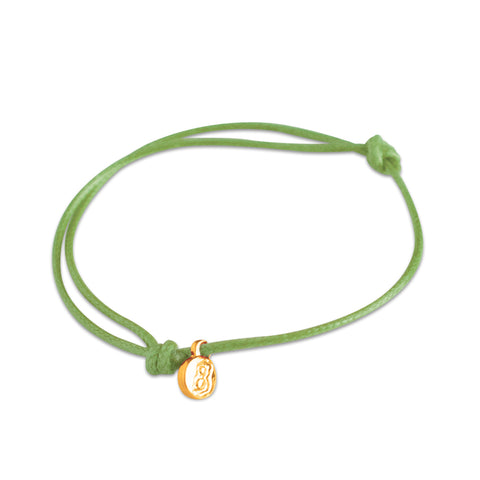 st8te Handmade Green Bracelet | Adjustable Slim Rope Slider with Charm