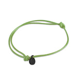 st8te Handmade Green and Black Bracelet | Adjustable Slim Rope Slider with Charm