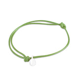 st8te Handmade Green and White Bracelet | Adjustable Slim Rope Slider with Charm