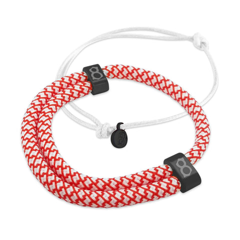 st8te Handmade Red and White Bracelet Stack | Adjustable Rope Slider