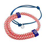 st8te Handmade Red, White & Blue Bracelet Stack | Adjustable Rope