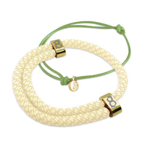 st8te Handmade Tan and White Bracelet Stack | Adjustable Rope Slider