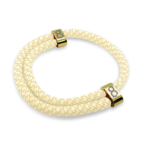 st8te Handmade Tan and gold Rope Bracelet, Adjustable Slider with Custom Finish
