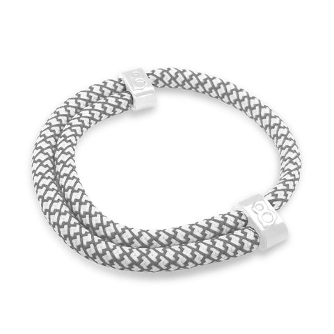 st8te Handmade (Fence) White and Gray Rope Bracelet, Adjustable Slider