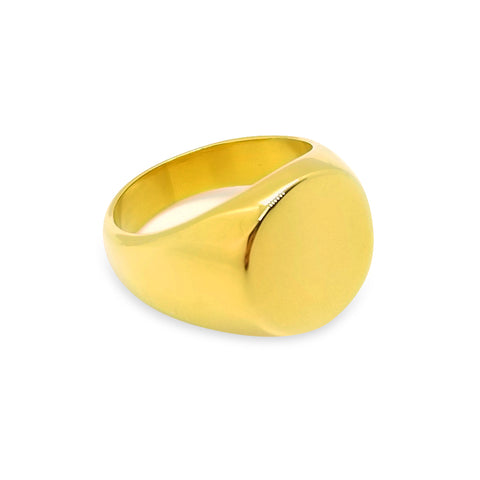 st8te - Stainless Steel Plated Gold Signet ring Available in 8 sizes