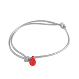 st8te Handmade Gray and Red Rope Bracelet with Charm | Adjustable Rope Slider