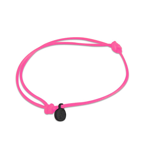 st8te Handmade Hot Pink Bracelet with Black Charm | Adjustable Rope Slider