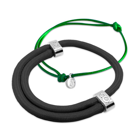 st8te Handmade Jet Green Bracelet Stack | Adjustable Sliders