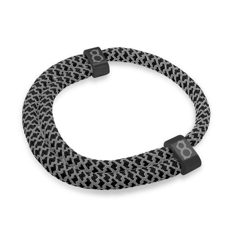 st8te Handmade Black 3m Bracelet | Adjustable Reflective Rope Slider