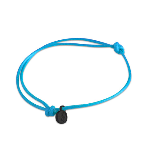 st8te Handmade Light Blue Bracelet with Charm | Adjustable Rope Slider
