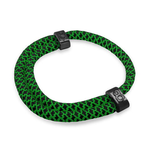 "st8te Handmade ""Matrix"" Green & Black Rope Bracelet, Adjustable Slider"