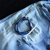st8te Handmade Blue & White Bracelet Stack | Adjustable Sliders