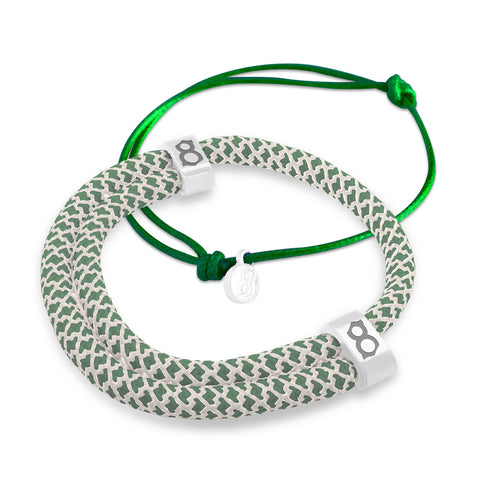 Moss Green White Bracelet Stack