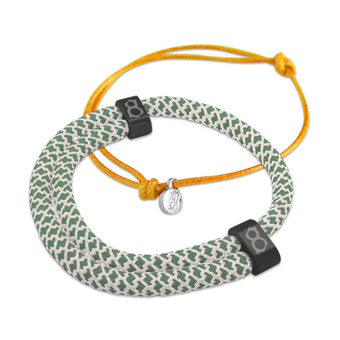 st8te Handmade Green & Orange Bracelet Stack | Adjustable Sliders