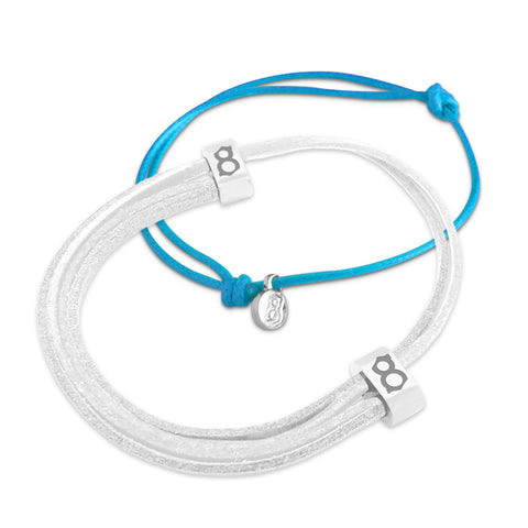 st8te Handmade White & Blue Leather Bracelet Stack | Adjustable Slider