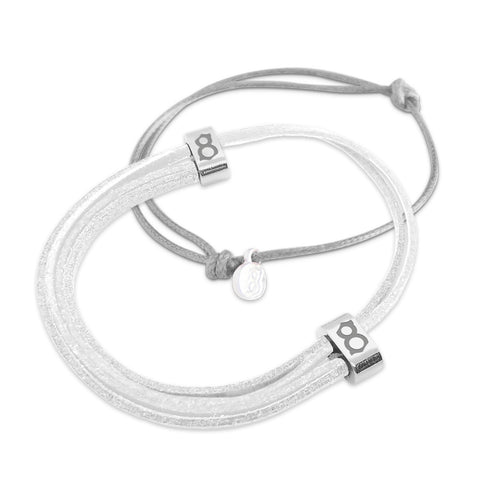 st8te Handmade White Leather & Gray Bracelet Stack | Adjustable Slider