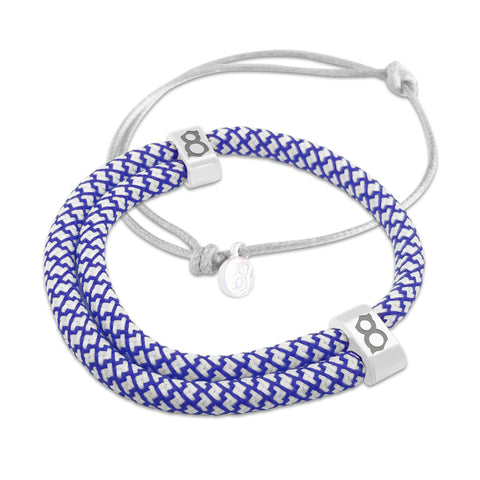 st8te Handmade Blue and Gray Bracelet Stack | Adjustable Rope Slider