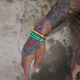 st8te Handmade Green and Yellow Bracelet Stack | Adjustable Sliders