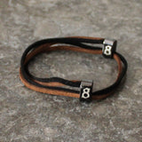 st8te Handmade Black & Brown Suede Leather Bracelet, Adjustable Slider