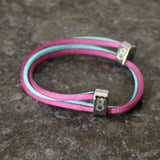 st8te Purple & Turquoise leather bracelet for men and women