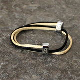 st8te black and white leather bracelet for men and women