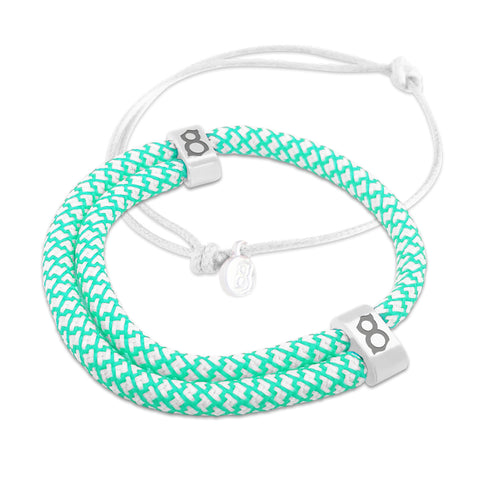 st8te Handmade Tiffany & White Bracelet Stack | Adjustable Sliders