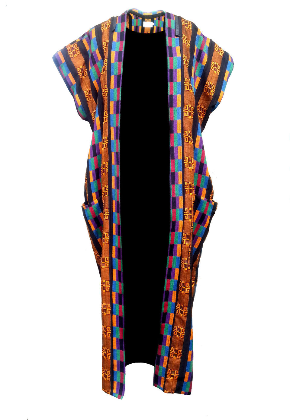 Luxury Kente Weave Sleeveless Coat