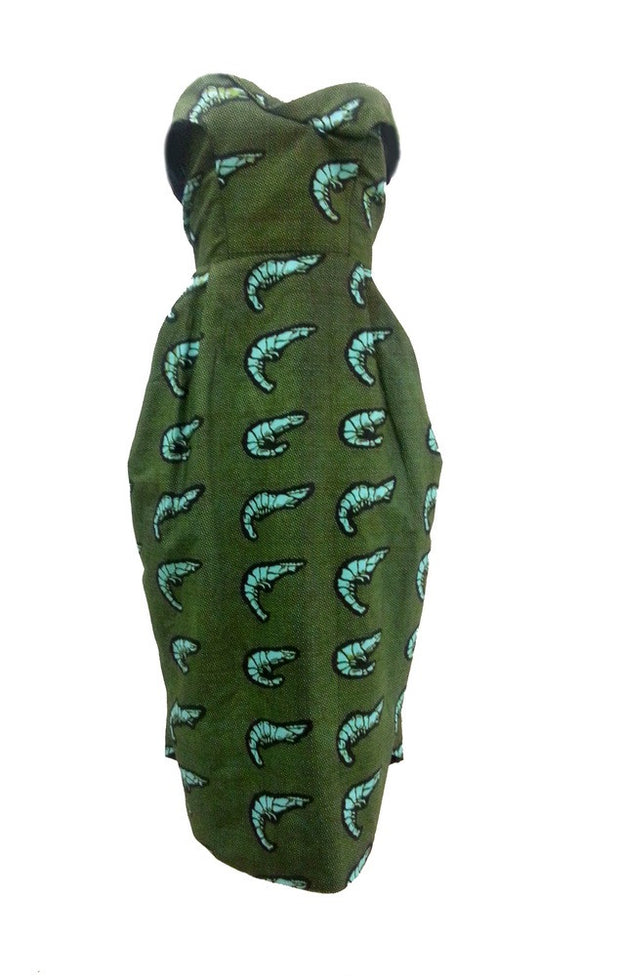 Blue Shrimp Print Taila Dress