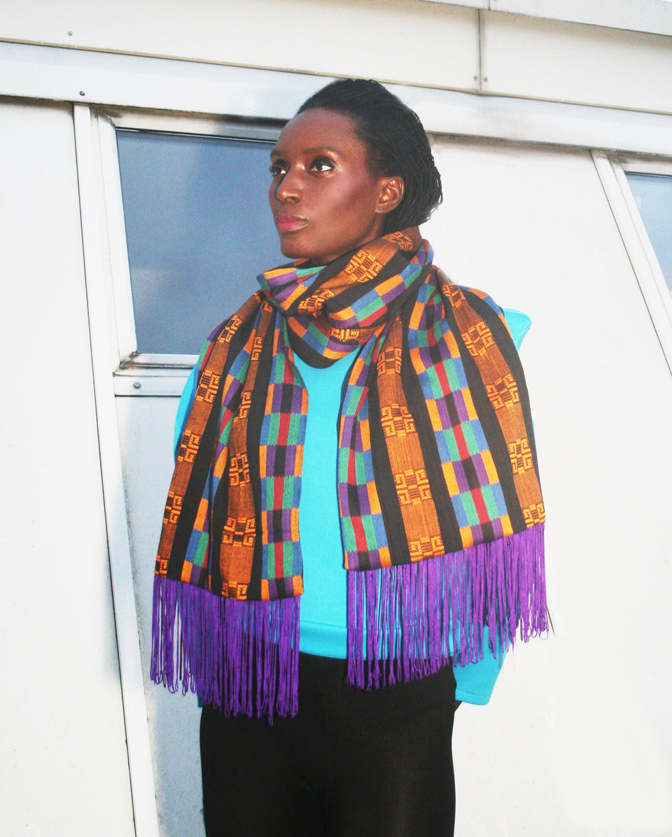 Large Multi-coloured Ayawa Kente Weave Scarf