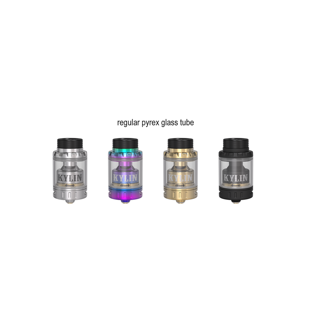 Vandy Vape RTA units in silver, neon rainbow, gold and black