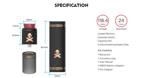 Vandy Vape Bonza Mechanical Kit with Bonza V1.5 RDA