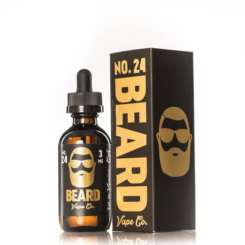 Beard Vape Co NO. 24 bottle pictured next to box