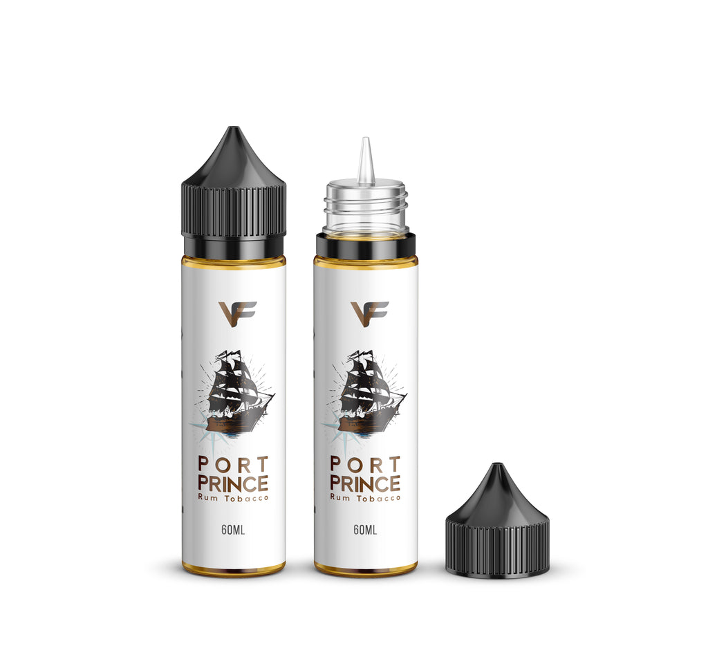 Port Prince E Liquid by Vape Factory 60ml, two bottles, one with lid on, one with lid off