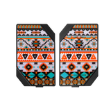 LMC Box Plates orange, black and blue pattern